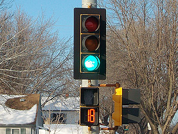 Photo of LED traffic signal in use